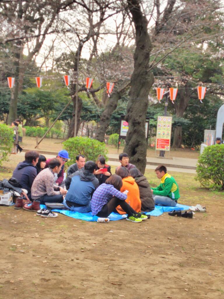 上野公園のお花見は外国人観光客でにぎやか